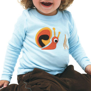 Autumn Snail on Soft Blue Applique Tee or Onesuit