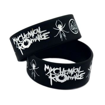 My Chemical Romance Punk Style Silicone Soft cheap spider balck silicone bracelet