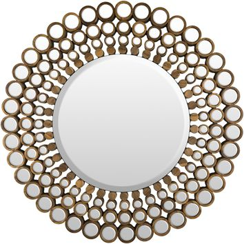 Adin, Large wood round mirror