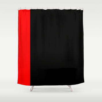 Red Tuxedo Stripe Shower Curtain by Kat Mun