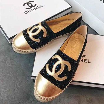 Chanel Shoes Shining Fashion Espadrilles Flats Shoes Gold+black
