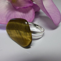 Gold Tiger Eye Ring Adjustable Tumbled Stone Ring Nature Inspired NOT DYED