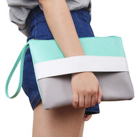 Color Patchwork Women Leather Bag Day Clutches