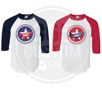 4th Of July America Raglan tee