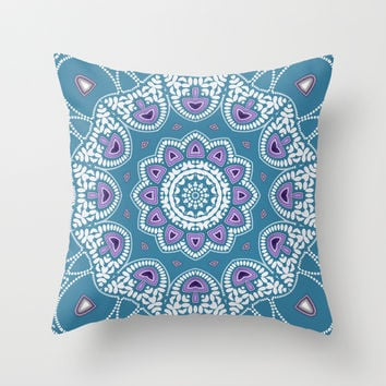 Mushroom Mandala Throw Pillow by Webgrrl