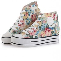 Fashion Floral Pattern Canvas Sneakers - OASAP.com