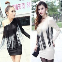 Sweet Women's Fashion Sexy Korean Style Single Shoulder off shoulder Tassel Dress Clubbing Nightclubs Dress(One Size) = 1945687300