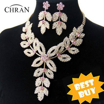 18K Gold Plated Flower Wedding Bridal Austrian Crystal Rhinestone Vintage Necklace And Earrings Jewelry Sets DDJSR1591