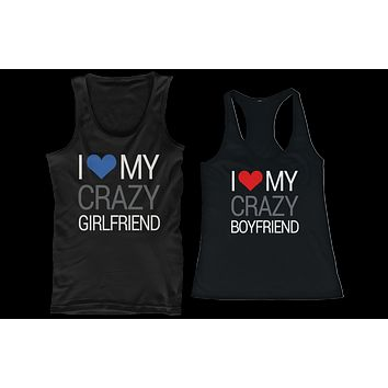 0eb9a99c88 I Love My Crazy Boyfriend and Girlfriend Matching Tank Tops for Couples