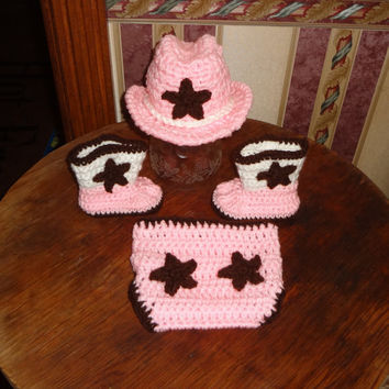 Newborn, 0-3 Months Baby Crochet Cowboy Cowgirl Hat & Pink Diaper Cover Star Boots Photo Prop Set Outfit
