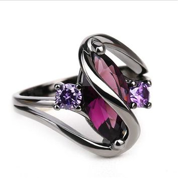 STYLEDOME Luxury Vintage Purple Zircon CZ Crystal Colorful Rings For Women