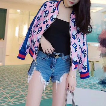 """Gucci"" Women Fashion Multicolor Stripe Geometric Print Long Sleeve Zip Cardigan Baseball Clothes Jacket Coat"