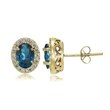Sterling Silver, Yellow or Rose Gold Flashed London Blue and White Topaz Oval Halo Stud Earrings