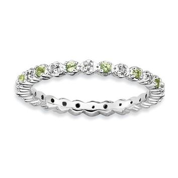 Sterling Silver Stackable Expressions Peridot & Diamond Alternating Eternity Ring