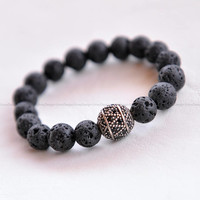 925S Silver Charm, Sterling Silver, Black Volcanic Lava Beads, Natural Stone Beads, Sterling Silver Charm, Gift For Her, Amazing Bracelet