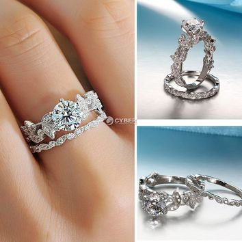 Women Trendy Hollow Out Leaves Crystal Rings Size 6/7/8/9/10/11 DZ88 01