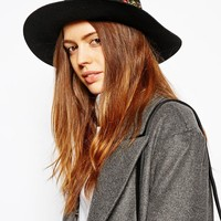 ASOS Feather And Band Felt Fedora Hat