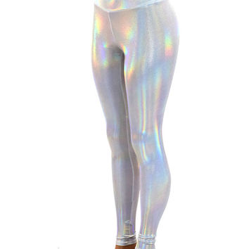White Holographic Flashbulb Metallic Hologram High Waist Lycra Spandex  Leggings  -150094