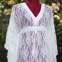 Ivory Lace Dress Maxi Beach Cover Up by mademoisellemermaid