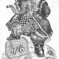 Elephant Pirate Digital copy of Original Picture for you to Frame in your Baby's Room