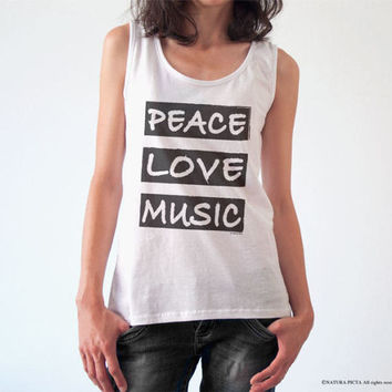 Peace love music T-shirt-music tee-music tank top-typography t-shirt-gift for him-women tee-gift for musician-cool tee-NATURA PICTA-NPTS100