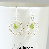 August birthstone wire wrapped sterling silver earrings with genuine green peridot briolette cut gemstones, wire wrap ear rings