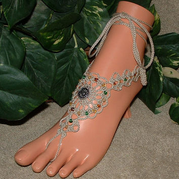 Crochet Sun Dial Flower Barefoot Sandals, Anklet, Beach Jewelry, Shoes, Womens Accessories, Footless, Bottomless, Accessories