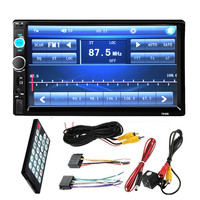 "7"" Inch LCD 2 DIN HD Car Radio MP5 Player In-Dash Touch Screen Bluetooth HD Rear View Camera Car Stereo FM + Wireless Remote"