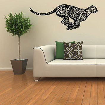 WALL DECOR VINYL STICKER MURAL KIDS ROOM WILD ANIMALS CHEETAH  LEOPARD A26