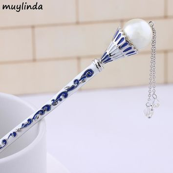 Chinese Blue And White Porcelain Painting Big Pearls Hair Stick Women Costume Classic Metal Charm Hairpins Jewelry