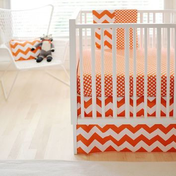 New Arrivals Polka-Dot Fitted Crib Sheet & Chevron Bed Skirt Set