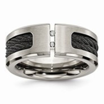 Titanium Black IP-plated Cable and Diamonds 10mm Brushed Wedding Band Ring