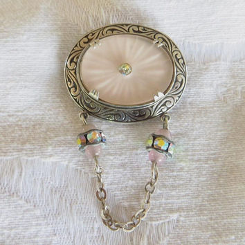 Vintage Camphor Glass Brooch, Sterling Silver, Bead and Chain Dangles, Camphor Jewelry