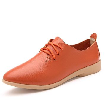 Women's Fashion Pointed Toe Flat Shoes Casual Lace Up Leisure Shoes Genuine Cow Leathe
