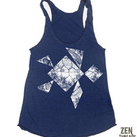 Womens SEA TURTLE Tangram american apparel TriBlend by ZenThreads