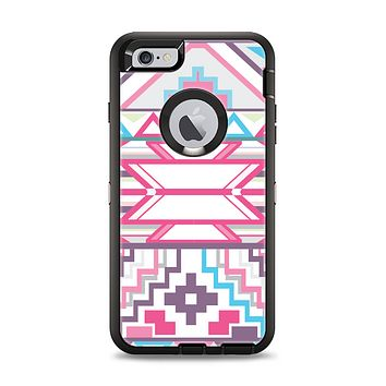 The Vector Pink & White Modern Aztec Pattern Apple iPhone 6 Plus Otterbox Defender Case Skin Set
