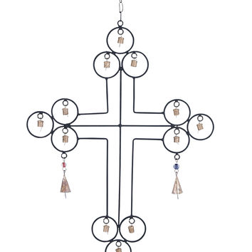 Metal Wind Chime With A Cross Designs