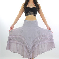 90s Boho Hippie Beaded lavender maxi skirt