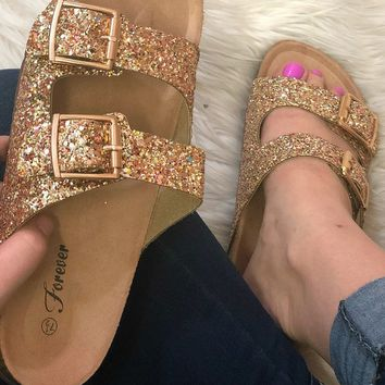 Sparkle and Shine Birks Shoes: Gold