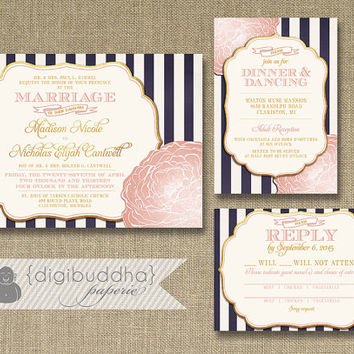 Blush Pink Gold Wedding Invitation Rsvp Info Card 3 Piece Suit