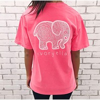 Ivory Ella Summer Popular Women Loose Cartoon Elephant Print Short Sleeve T-Shirt Pullover Top Pink I13004-1