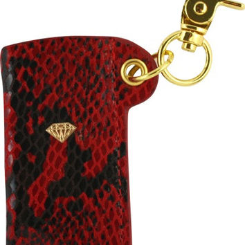 Diamond Snakeskin Lighter Sleeve Red/Gold