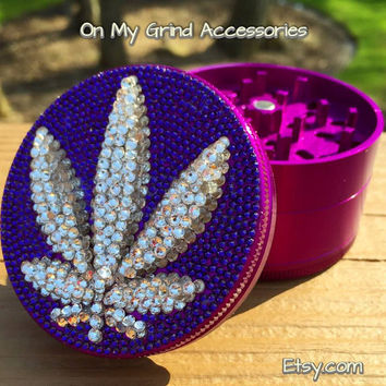 Swarovski Crystal Santa Cruz Shredder 3D Pot Leaf Grinder Fuchsia/Purple/Silver