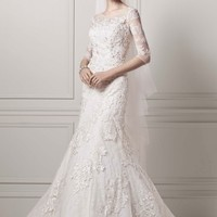 3/4 Sleeve Lace Trumpet Gown - David's Bridal