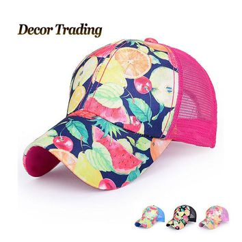 Fruit Printed Fitted Adjustable Baseball Caps Hats Women Quick Dry  Summer Sun Hat Casquette Chapeu  Men Mesh caps