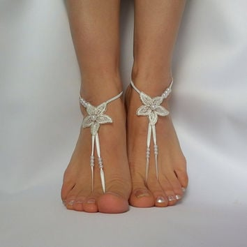 starfish  pearls  ivory  silver  frame  lace  wedding  bridal  barefoot  foot accessory  ankle sea star  beach wedding  bridesmaid starry