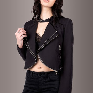 Rise to the Crop Black Cropped Moto Jacket