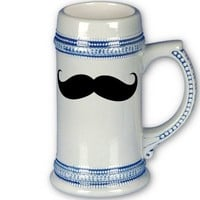 Funny Big Mustache Traditional Beer Stein Mugs from Zazzle.com