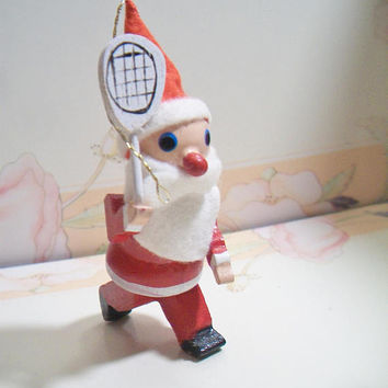 Vintage Tennis Racket Santa Claus Christmas Ornament Festive Holiday Home Decor Sports