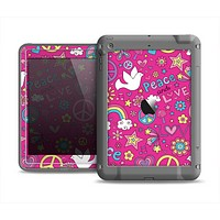 The Peace Love Pink Illustration Apple iPad Air LifeProof Fre Case Skin Set